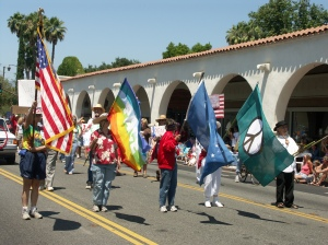 The Ojai Peace Coalition's first colorguard, in the 2005 Ojai Independence Day Parade