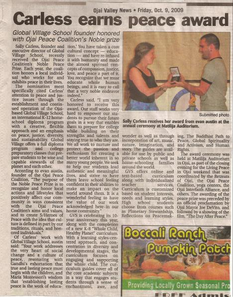 Ojai Valley News clipping about Noble Peace Prize award to Sally Carless of Global Village School, October 2009