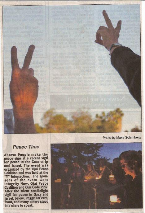 Front page Ojai Valley News feature about the OPC-sponsored vigil for peace in Gaza.