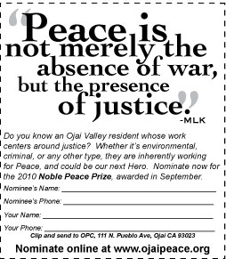Noble Peace Prize nomination print form