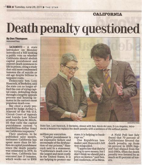AP article about capital punishment, clipped from the VC Star in June 2011